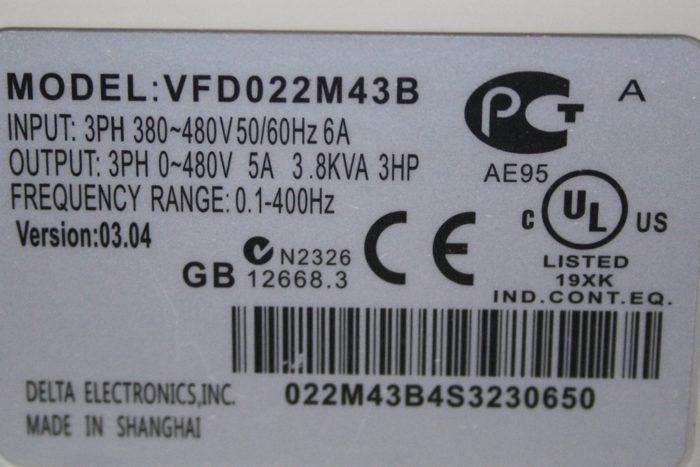 Фото 3 - Инвертор Delta VFD022M43B 2.2 кВт (380V).