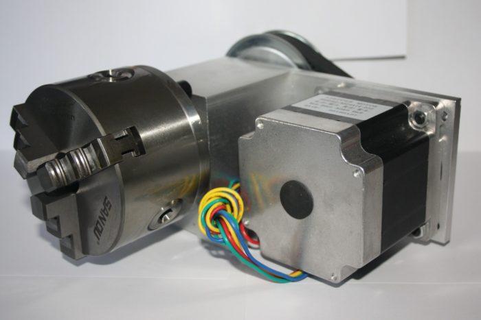 Фото 1 - Поворотная ось с  ременной передачей 1:3  (шаговый двигатель 86HS82)   3-х кулачковый.