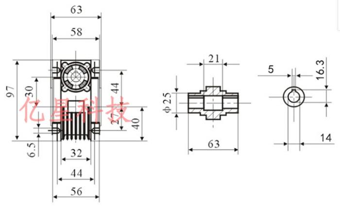 Фото 3 - Комплект червячный редуктор NMRV30 + шаговый двигатель 57.