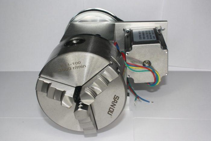 Фото 4 - Поворотная ось с ременной передачей 1:6 (шаговый двигатель 57HS76)   3-х кулачковый.