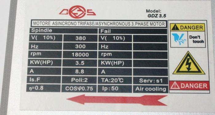 Фото 2 - Шпиндель GDZ 104x102 с воздушный охлаждением 3.5 кВт ER20 (380V).