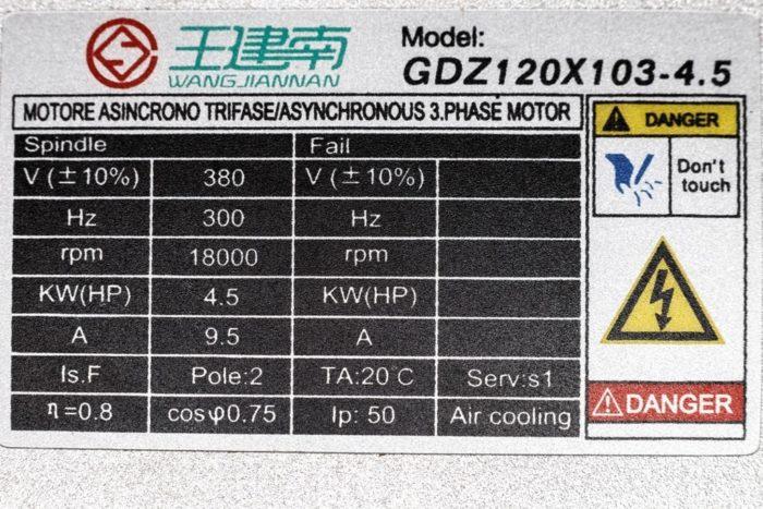 Фото 2 - Шпиндель GDZ120X103-4,5 с воздушным охлаждением 4.5 кВт,ER32 (380V).
