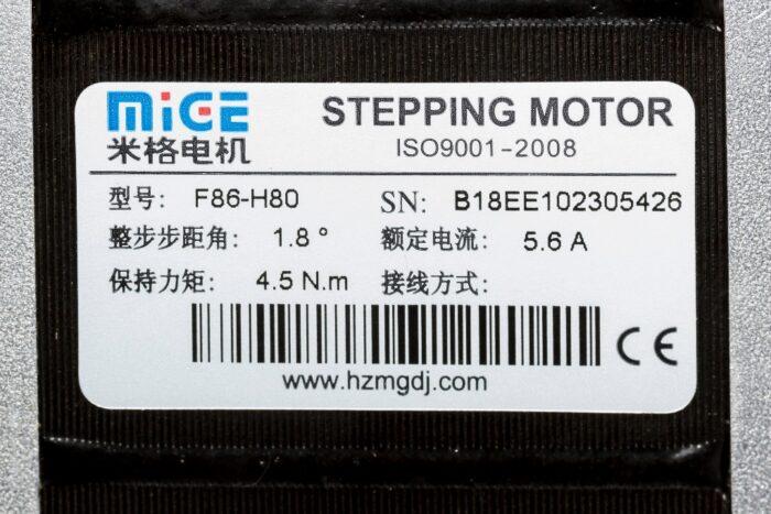 Фото 2 - Шаговый двигатель MIGE F86-H80 4.5Нм.