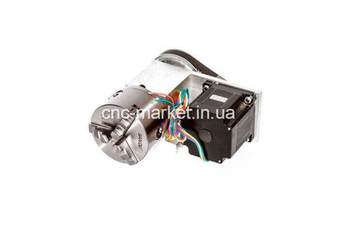 Фото 1 - Поворотная ось с ременной передачей 1:4 (шаговый двигатель 86HS82)  3-х кулачковый.