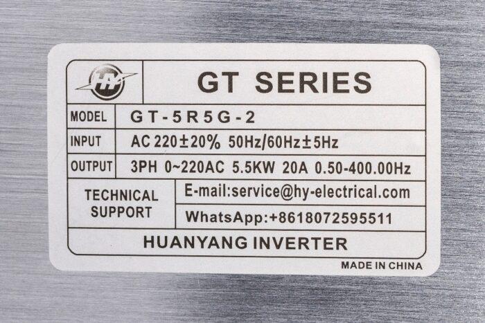 Фото 2 - Инвертор HY GT-5R5G-2 5.5 кВт (220V).