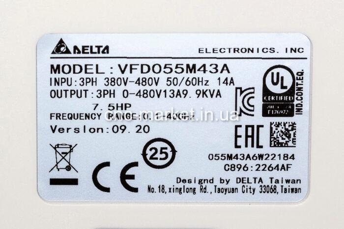 Фото 2 - Инвертор Delta VFD055M43A 5.5 кВт (380V).